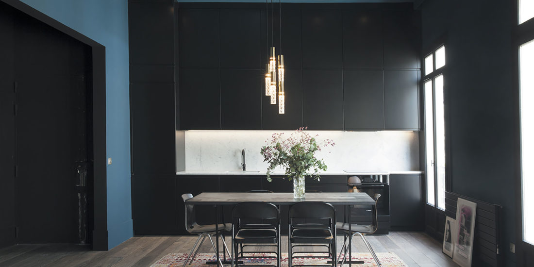 french cabinetry clean black matte lacquer b
